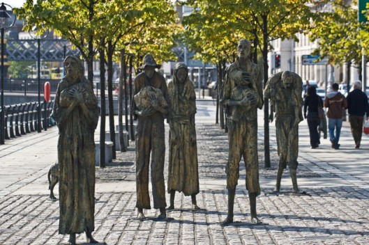 The memorial in Dublin to the people who fled Ireland during the Potato Famine (1845-1850).